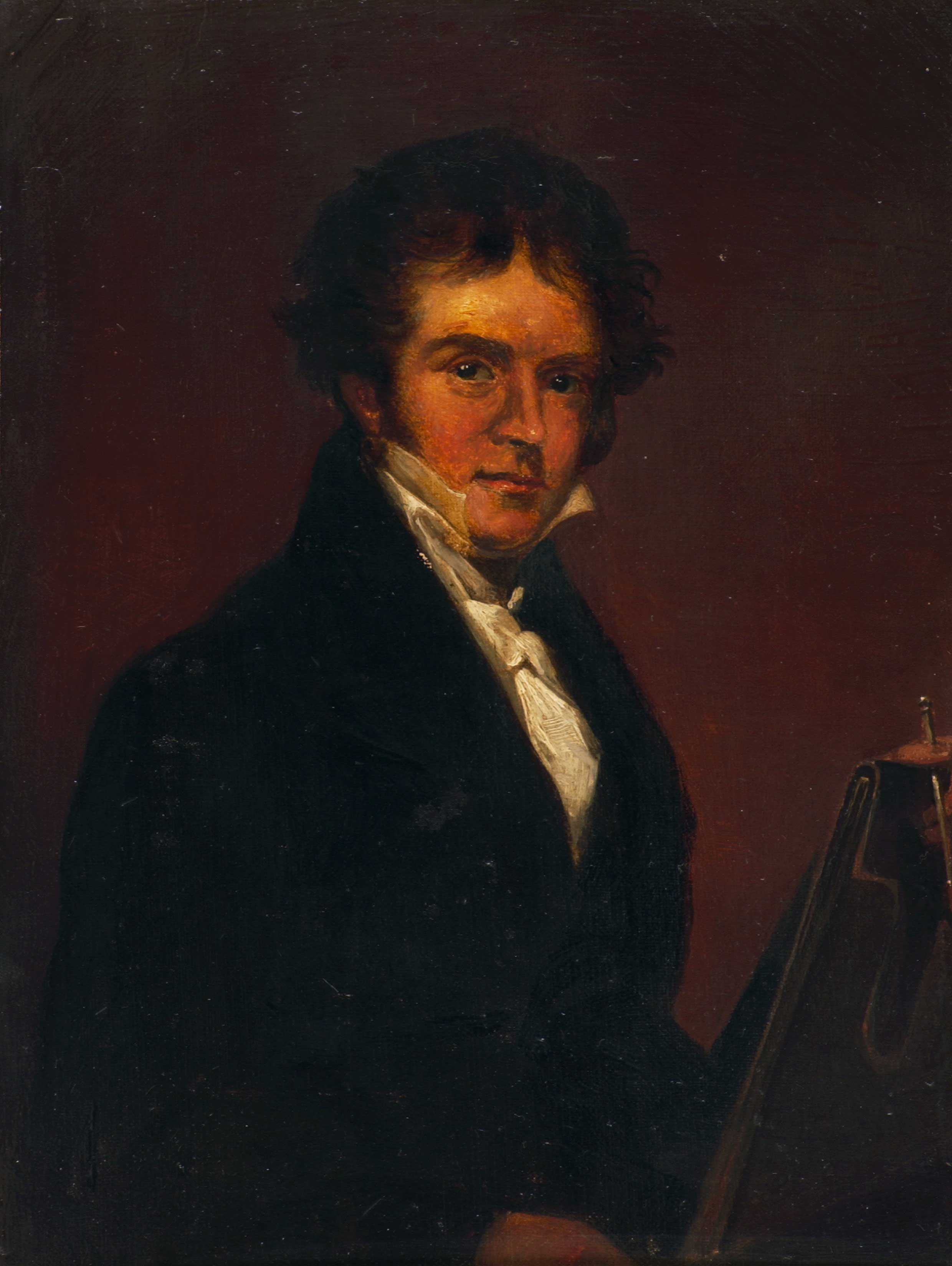 Self-portrait, with easel