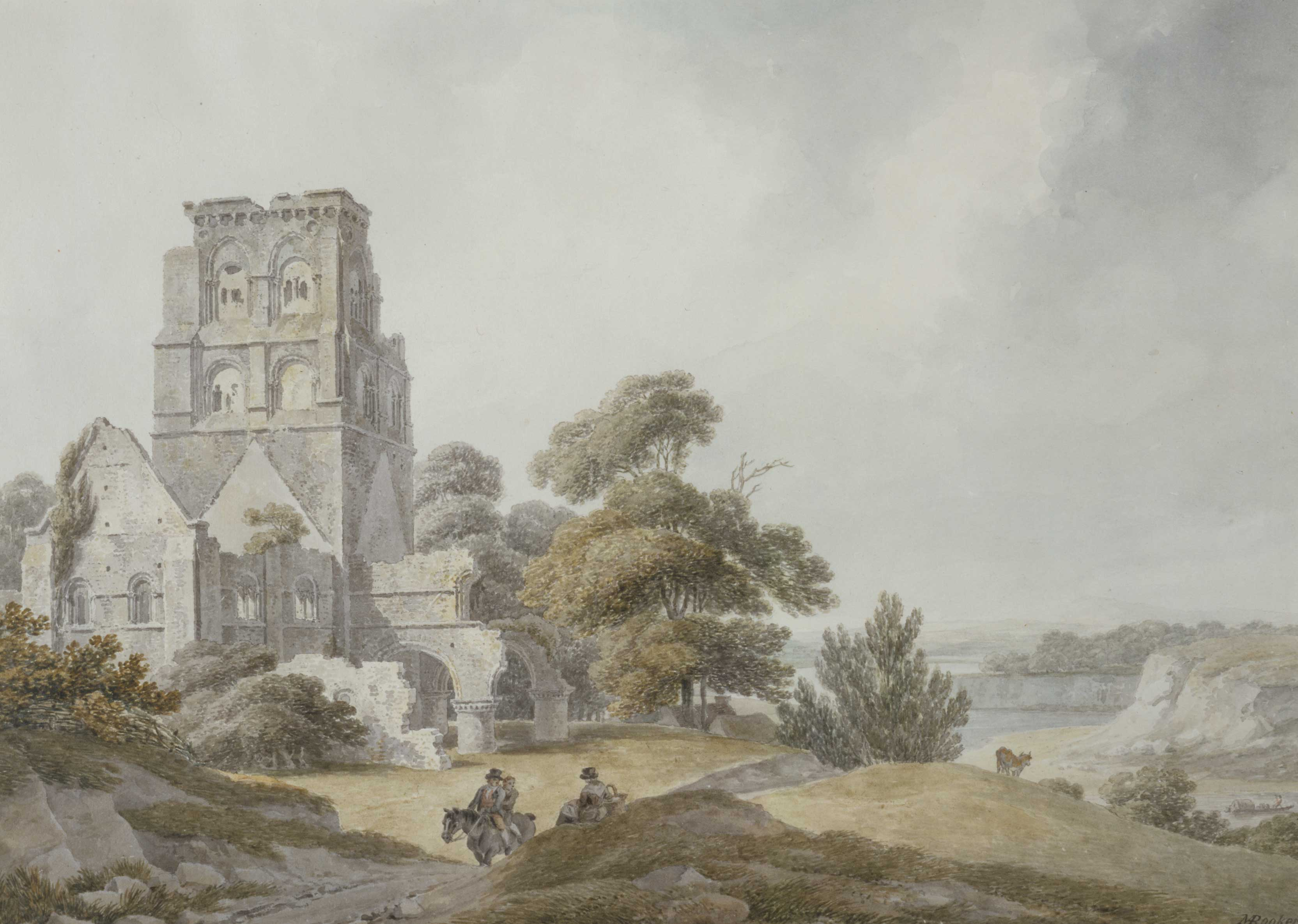 Landscape with ruined church