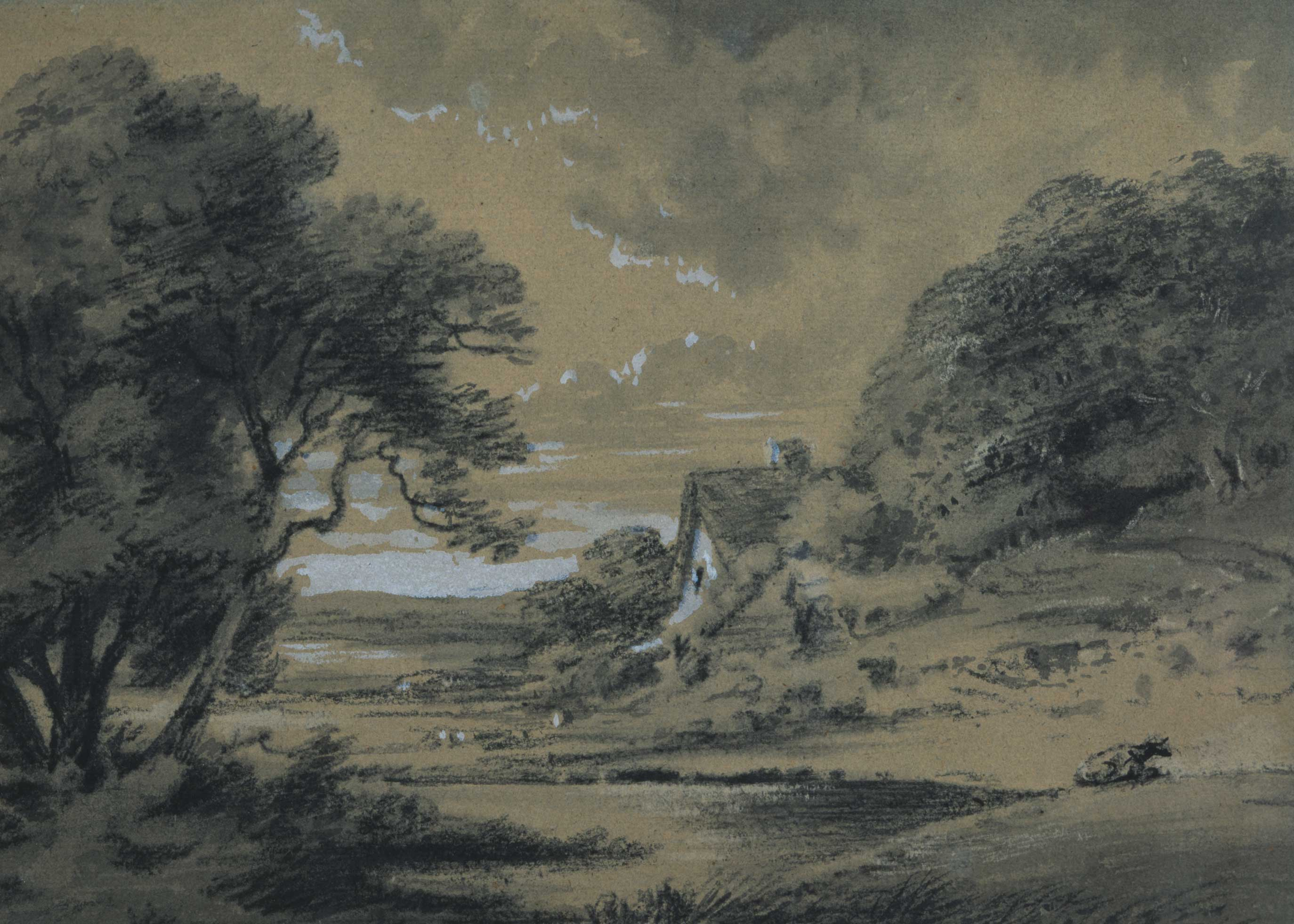 Landscape with a cottage by a river
