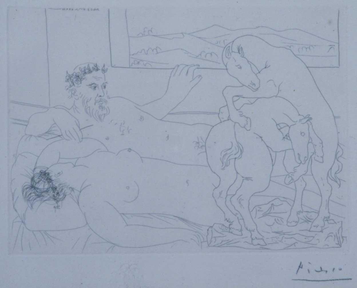 Peintre et modele regardant un combat de chevaux