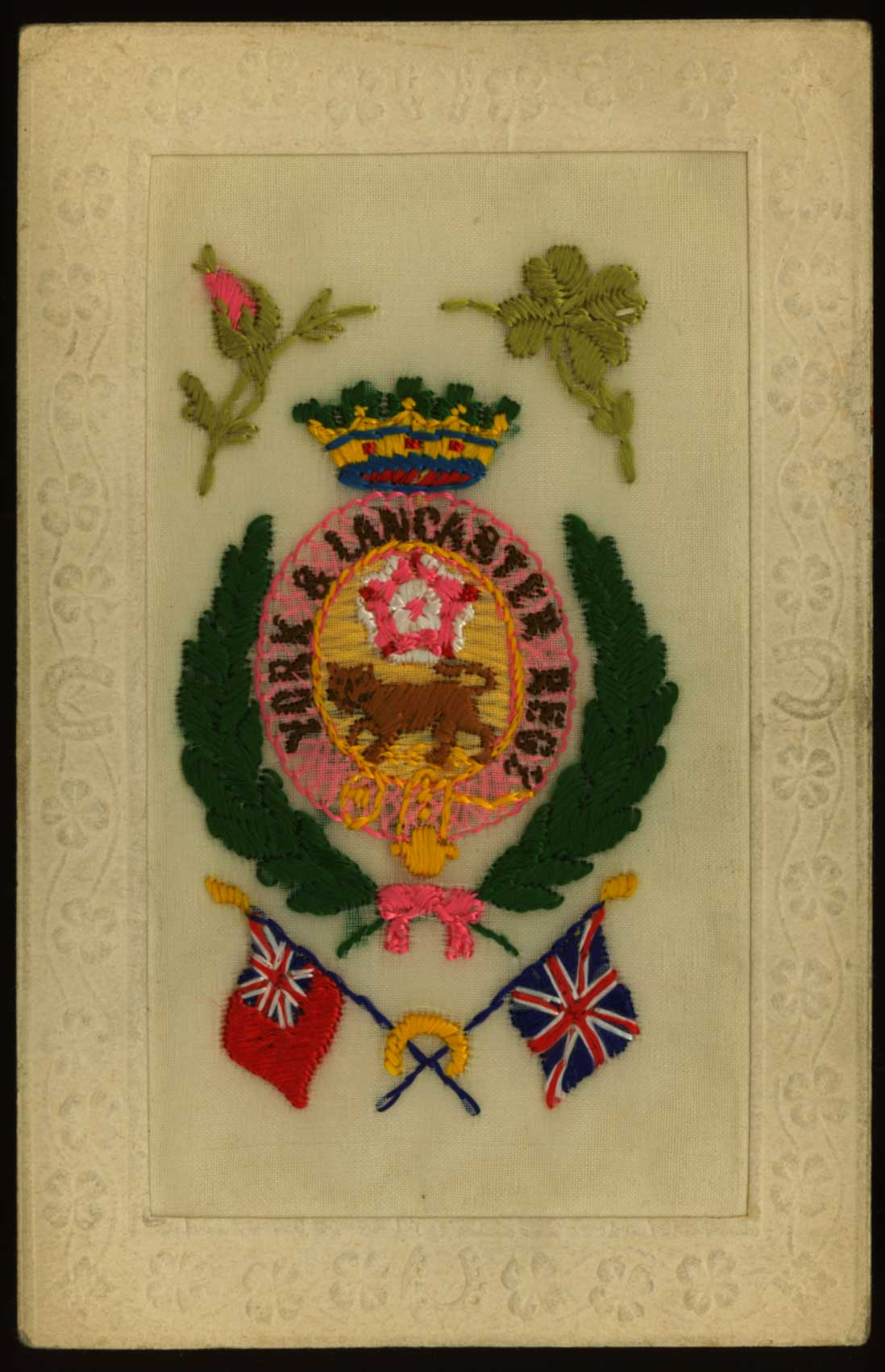 Embroidered WWI postcard