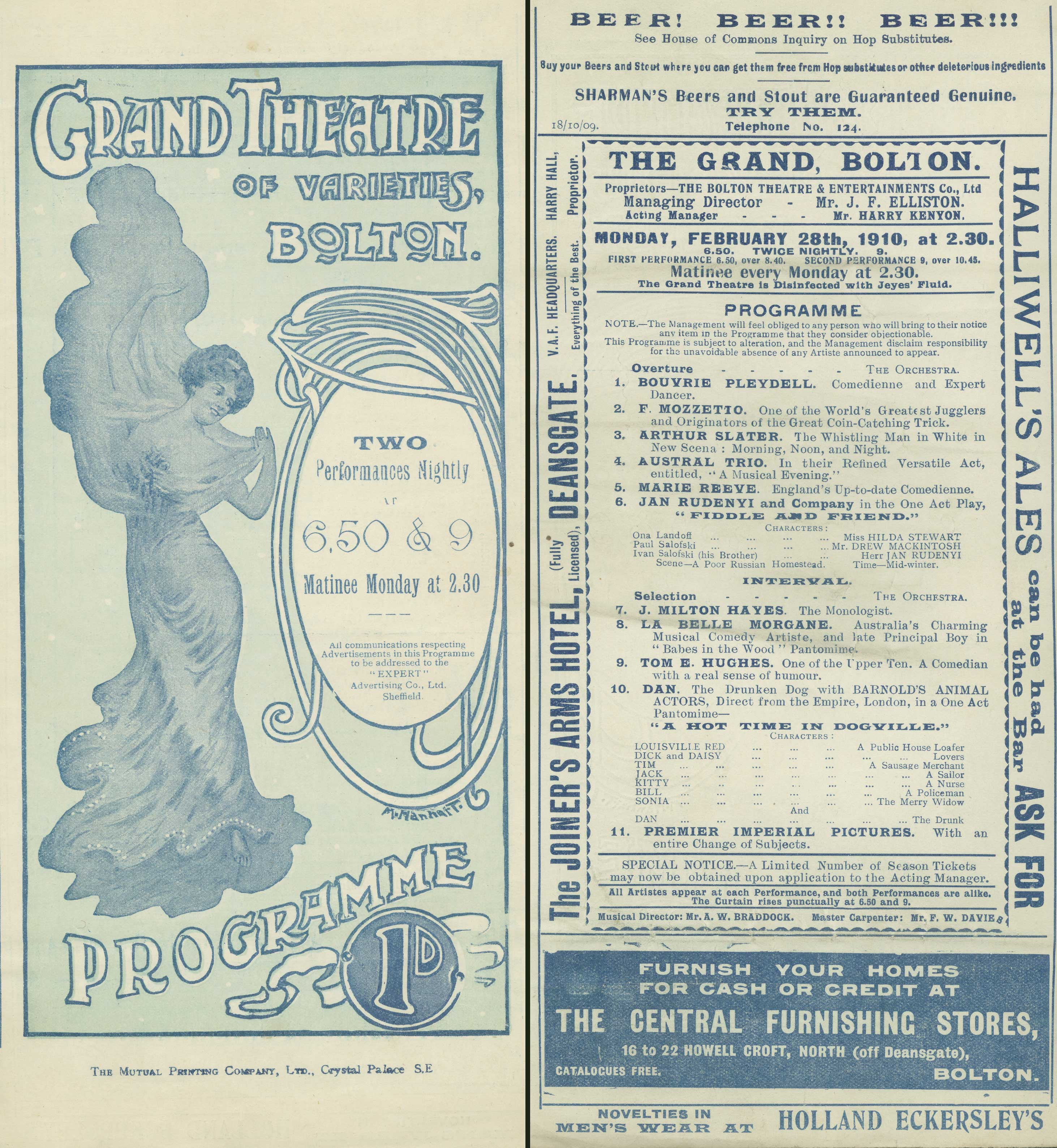 Bolton Grand Theatre of Varieties programme