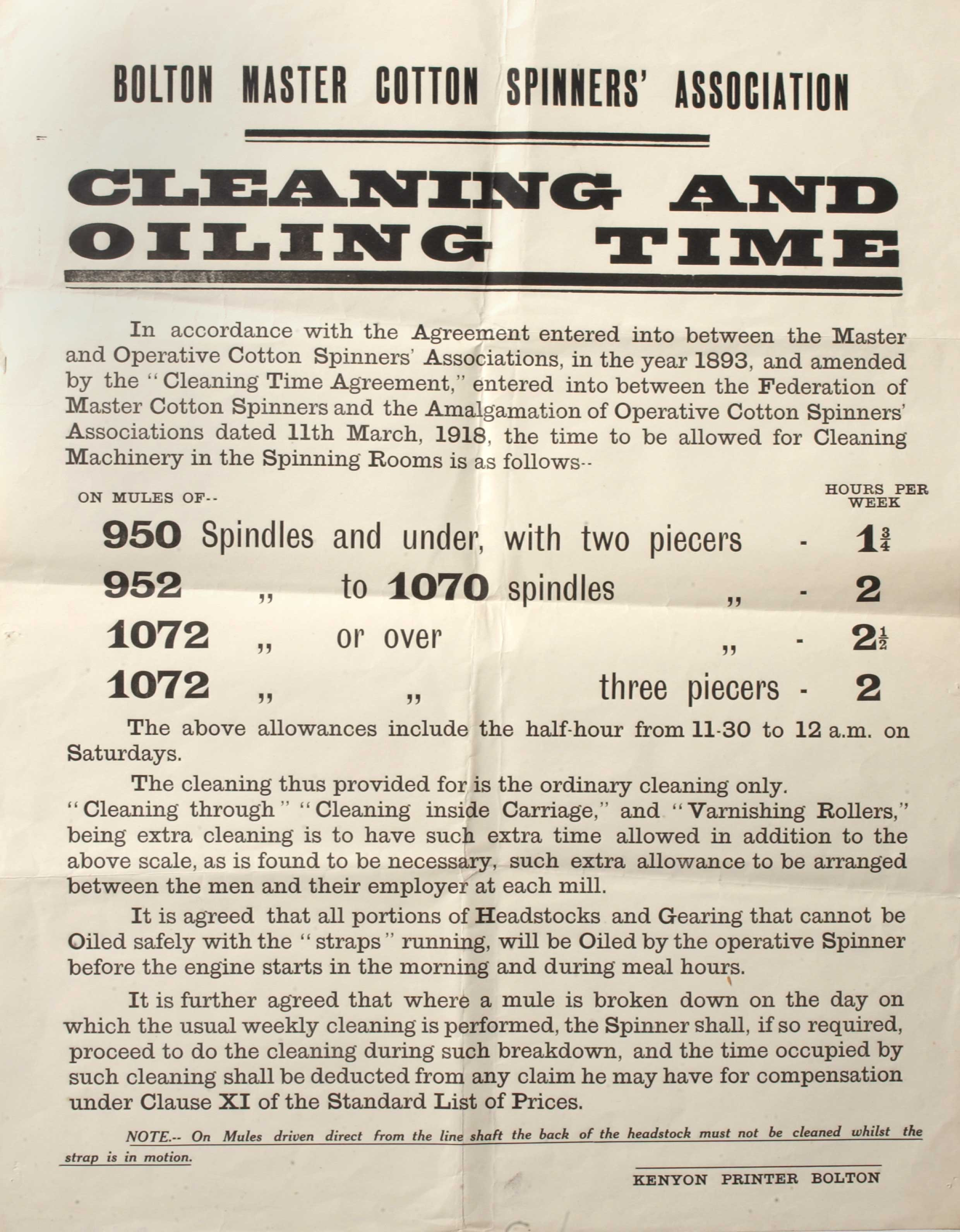 Bolton Master Cotton Spinners Association factory notice