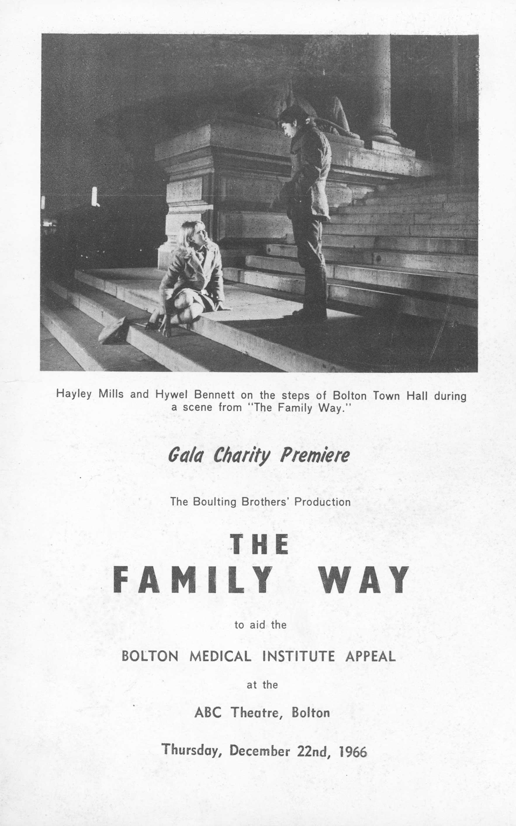 Charity programme for The family Way at the ABC Theatre
