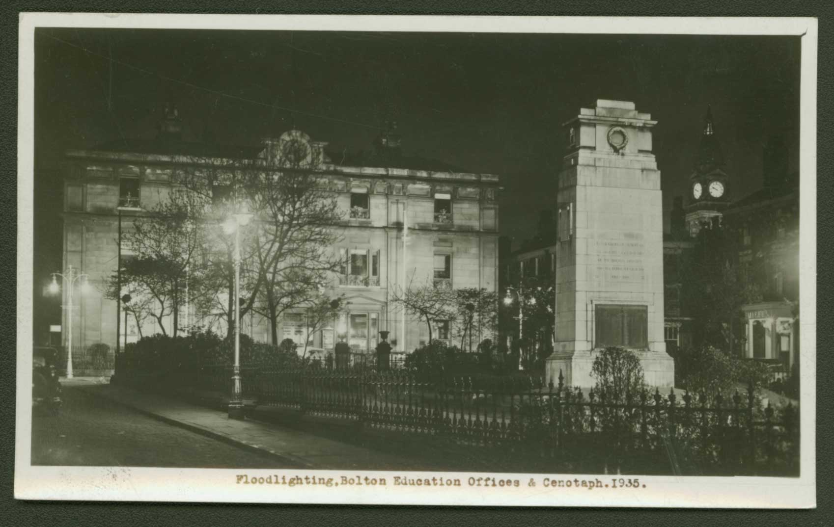 Floodlighting. Bolton Education Offices and Cenotaph. 1935.