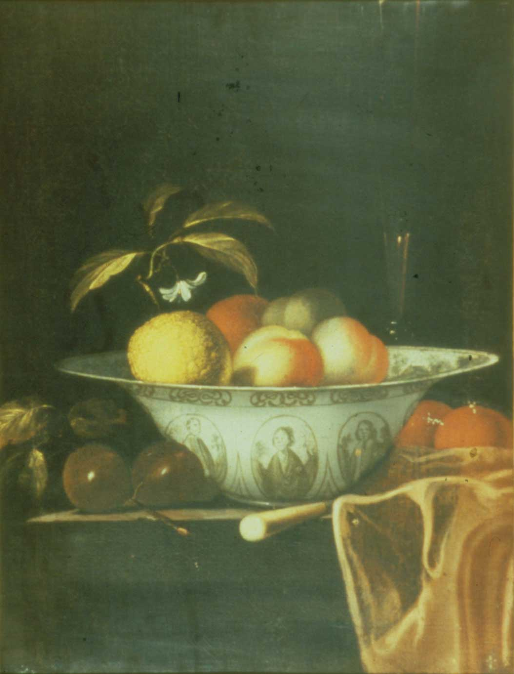Fruit in a Delft Dish